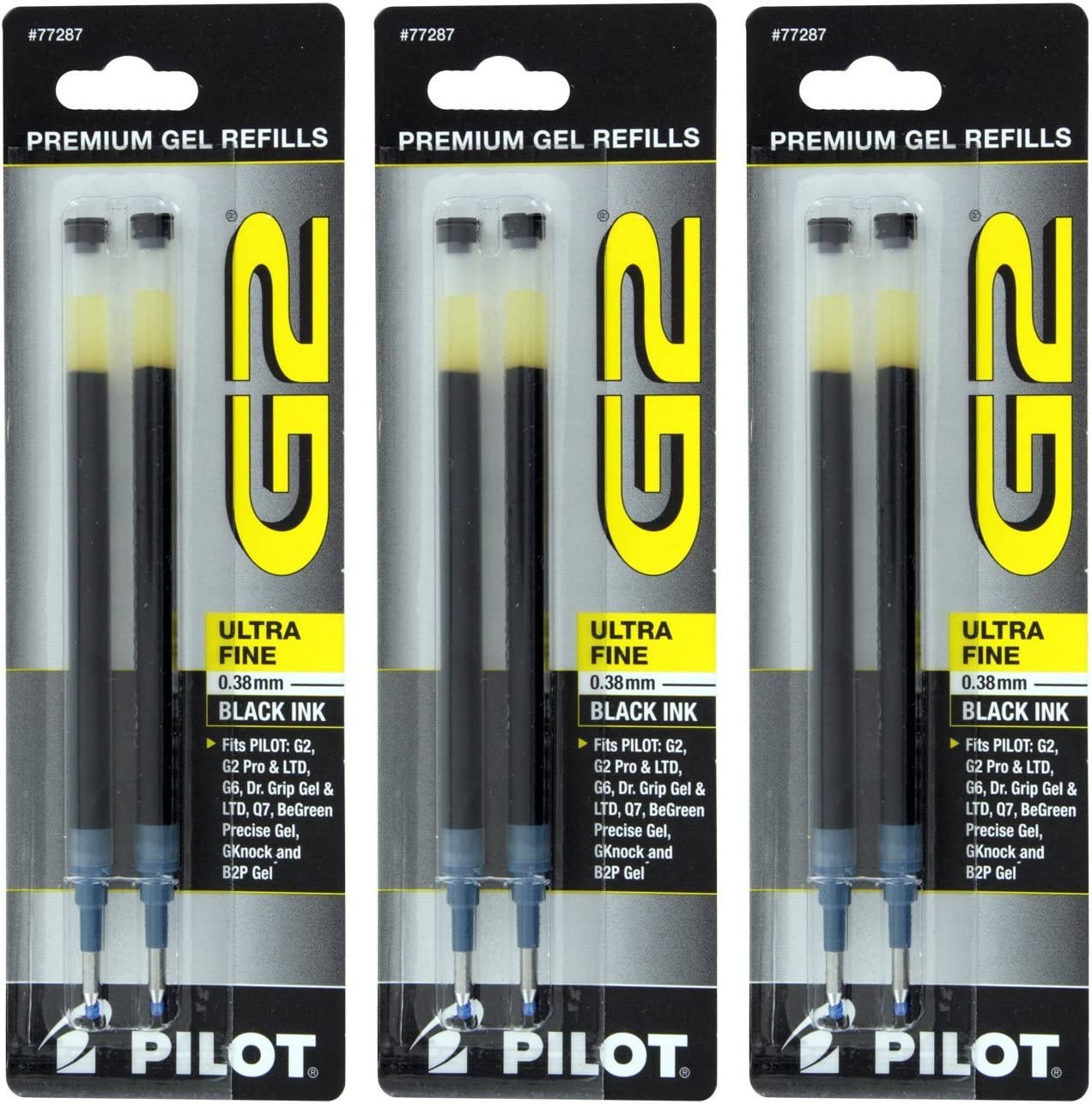 ExecuGel G6 Pilot G2 Dr Q7 Rollerball Gel Ink Pen Refills Black Ink 0.5mm Extra Fine Point Grip Gel//Ltd Pack of 6