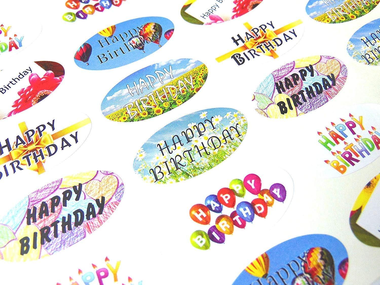 Amazon.com: Minilabel 48 feliz cumpleaños ovalado sello ...