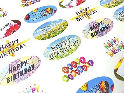 48 Joyeux Anniversaire Ovale Joint Etiquettes Stickers Pour Emballage Cadeau Cartes Amazon Fr Fournitures De Bureau