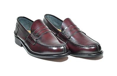 Saxone Of Scotland - Mocasines de Piel para Hombre Rojo Burdeos: Amazon.es: Zapatos y complementos