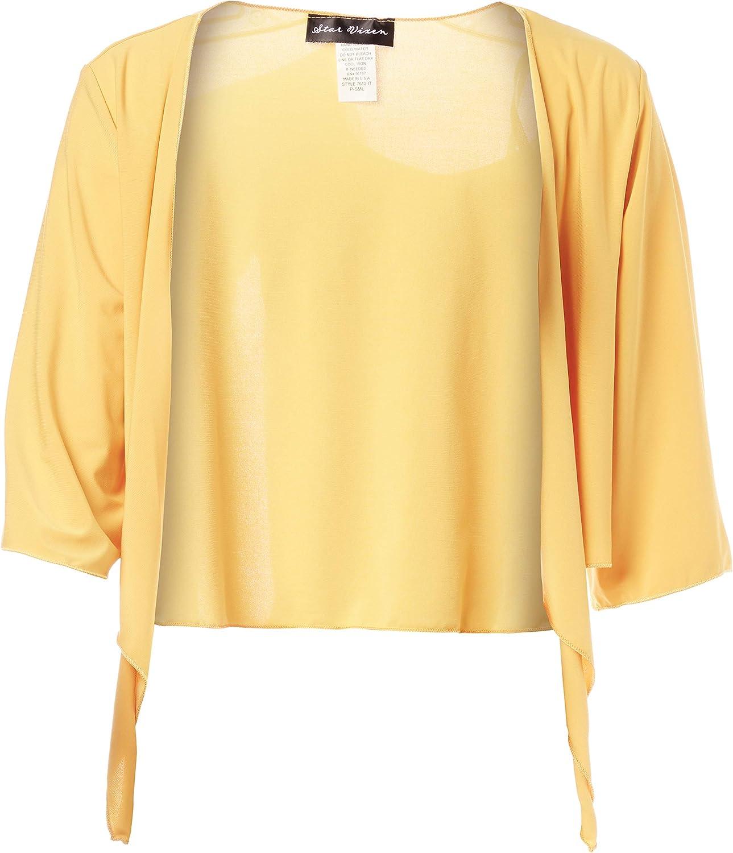 Star Vixen Womens Tie Front Elbow Sleeve Cardigan Shrug Sweater