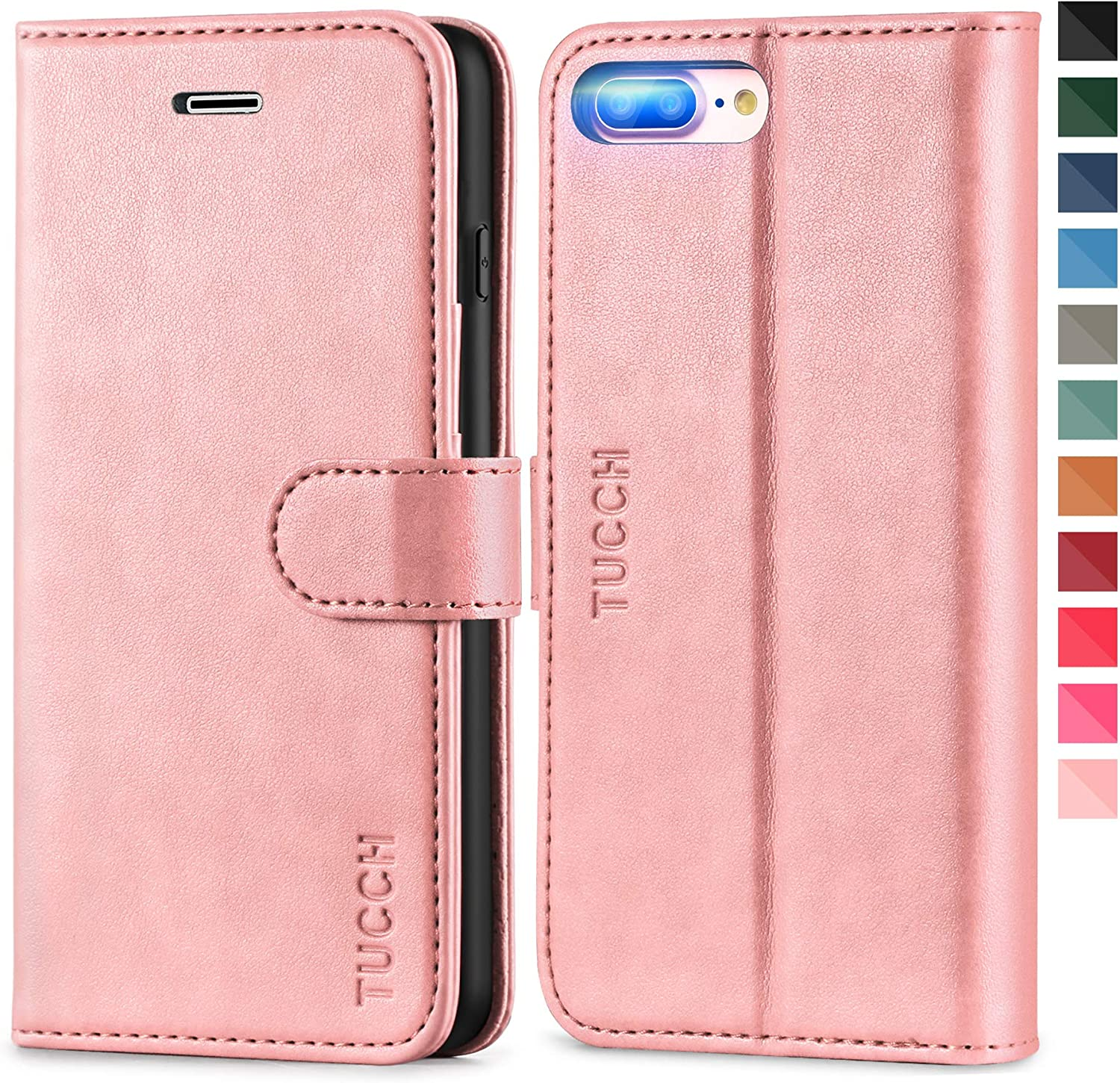 TUCCH iPhone 8 Plus Wallet Case, iPhone 7 Plus Case, Premium PU Leather Flip Case with Card Slot, Stand Magnetic Closure [Shockproof TPU Interior Case] Compatible with iPhone 7/8 Plus, Rose Gold
