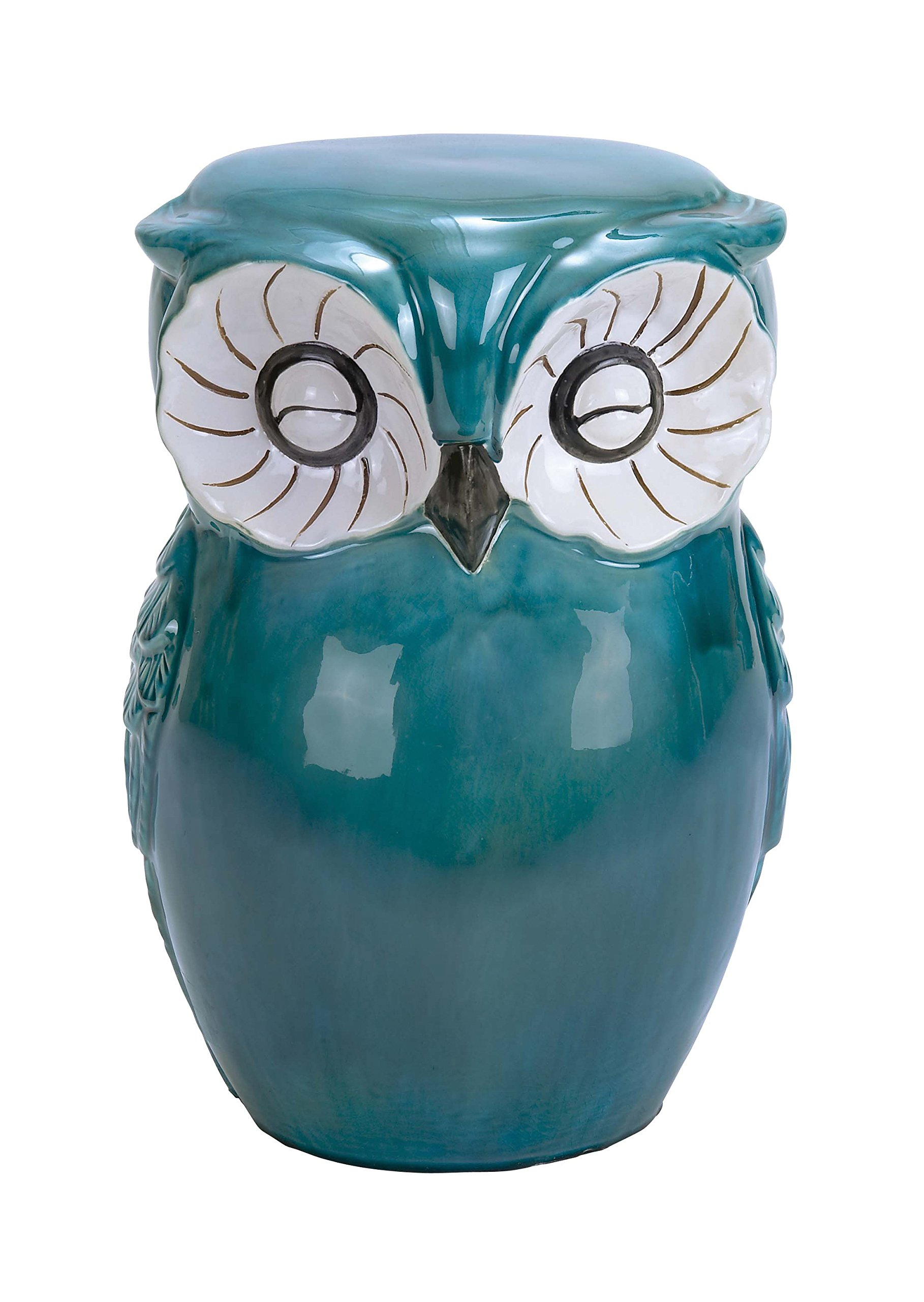 Deco 79 Ceramic Owl Stool, 13-Inch by 17-Inch