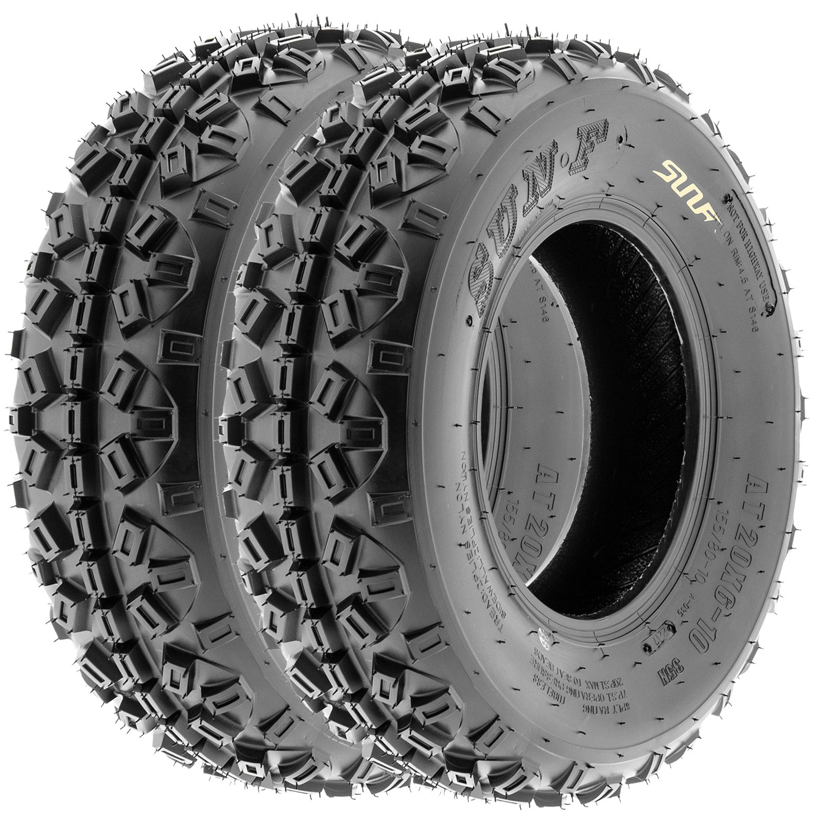 SunF Knobby XC MX ATV Tires 21x6-10 & 20x11-9 6 PR A035 (Full set of 4, Front & Rear) by SunF (Image #2)