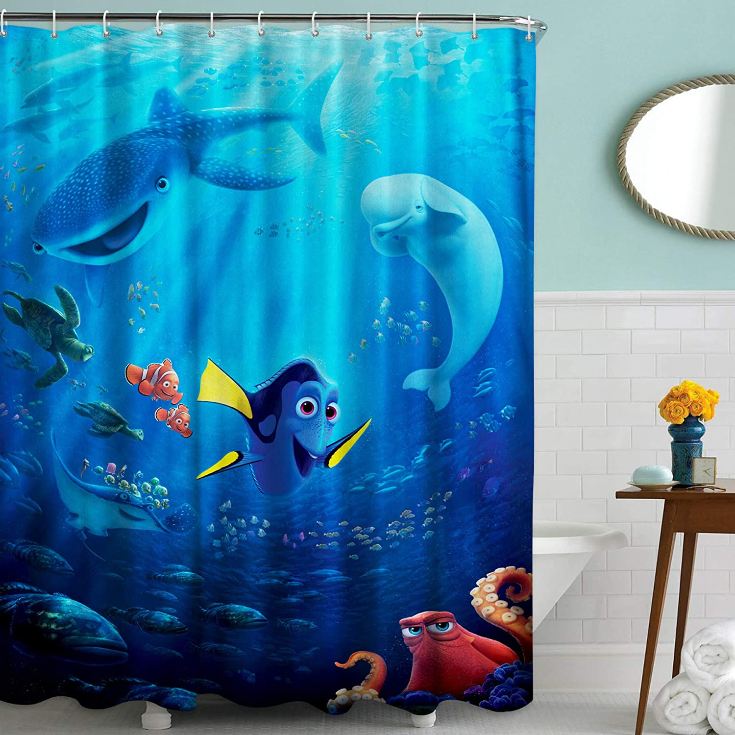 Disney Finding Dory Fabric Shower Curtain Set with Hooks for Boys and Girls Bathroom, 72in