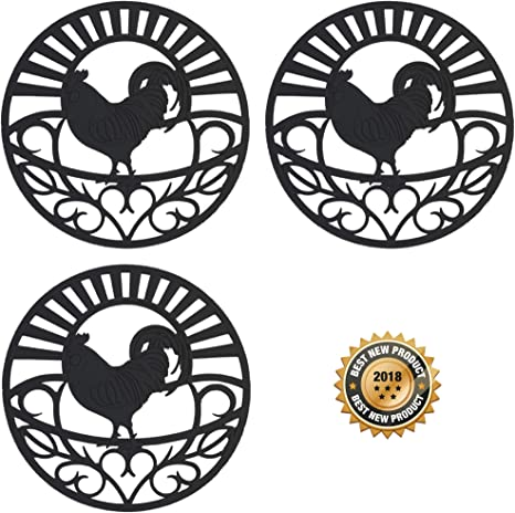 Silicone Trivet Set For Hot Dishes Pots Pans These Kitchen Hot Pads Country Rooster Design Symbol Of Prosperity Good Luck Mimics Cast Iron Trivets 7 5 Inch Round Set Of