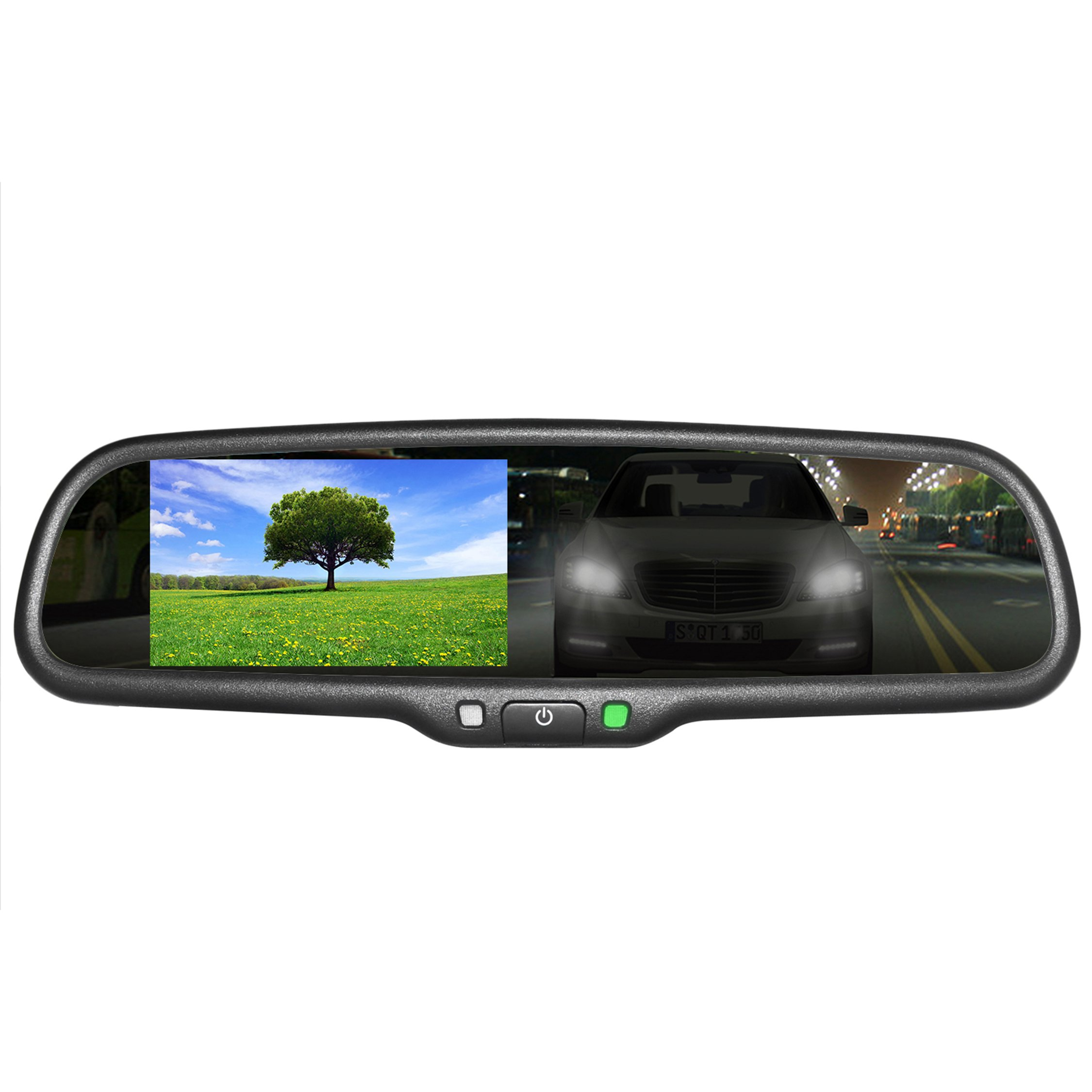 Master Tailgaters OEM Rear View Mirror with 4.3'' Auto Adjusting Brightness LCD + Auto Dimming Mirror - Universal Fit