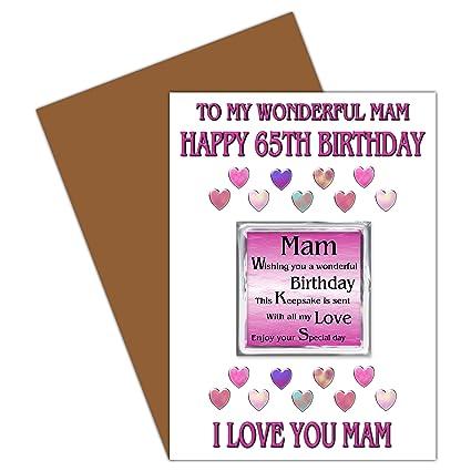 Mamá 65th tarjeta del feliz cumpleaños con imán extraíble ...