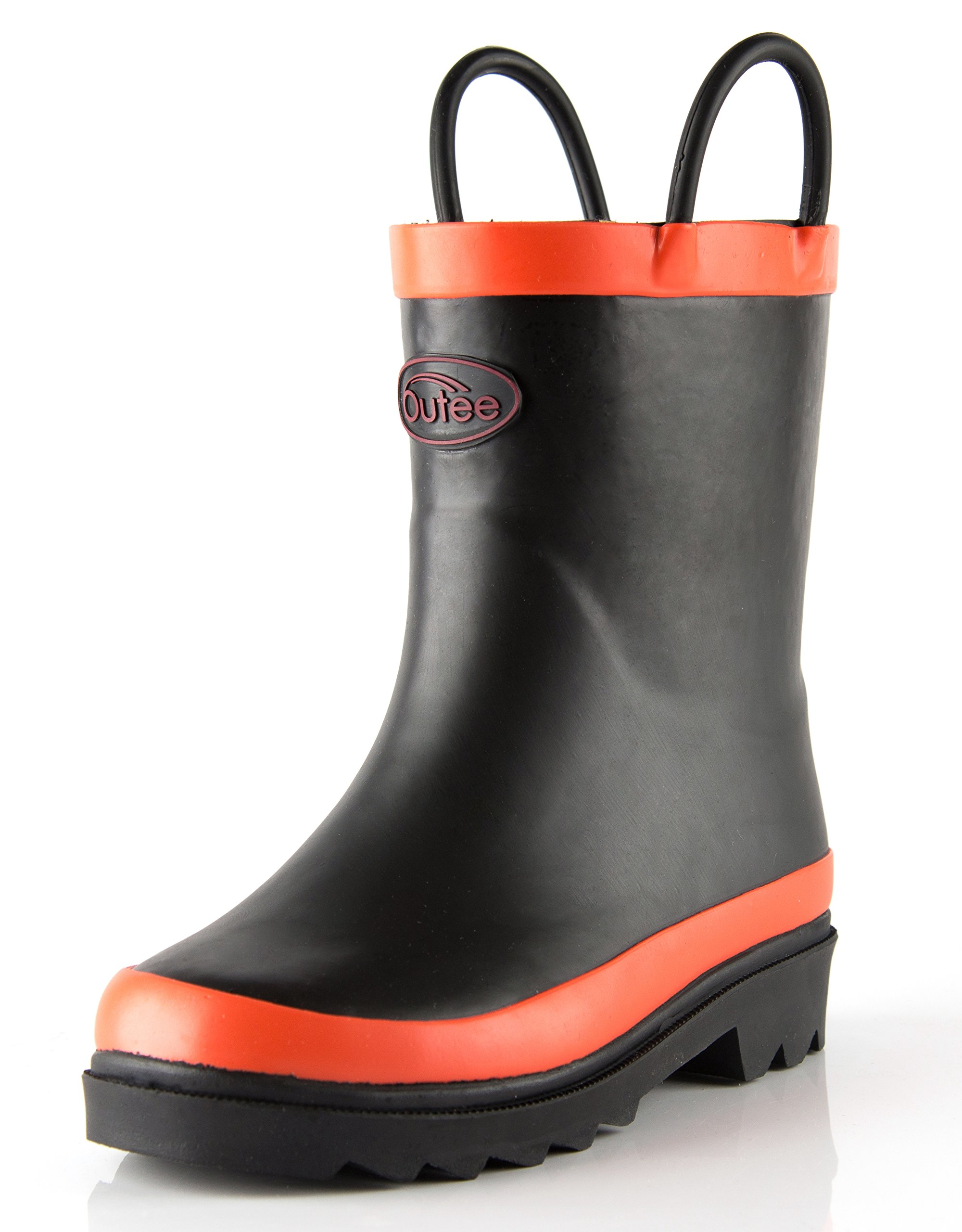 Outee Boys Girls Kids Rubber Rain Boots Waterproof Black in Solid Color with Easy-On Handles Classic Comfortable Removable Insoles Anti-Slippery Durable Sole with Grip (Size 2,Black) by Outee (Image #1)