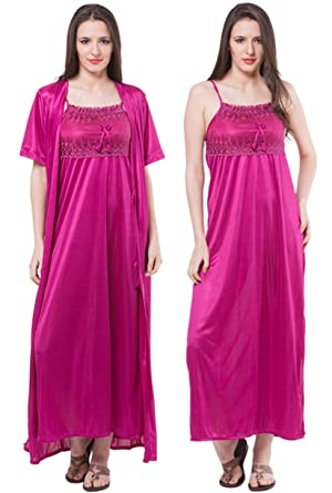 2dba48db48 Sexy Satin Long Chemise Night Dress Nightdress Nightie Slip Robe  Gown-Purple-One Size