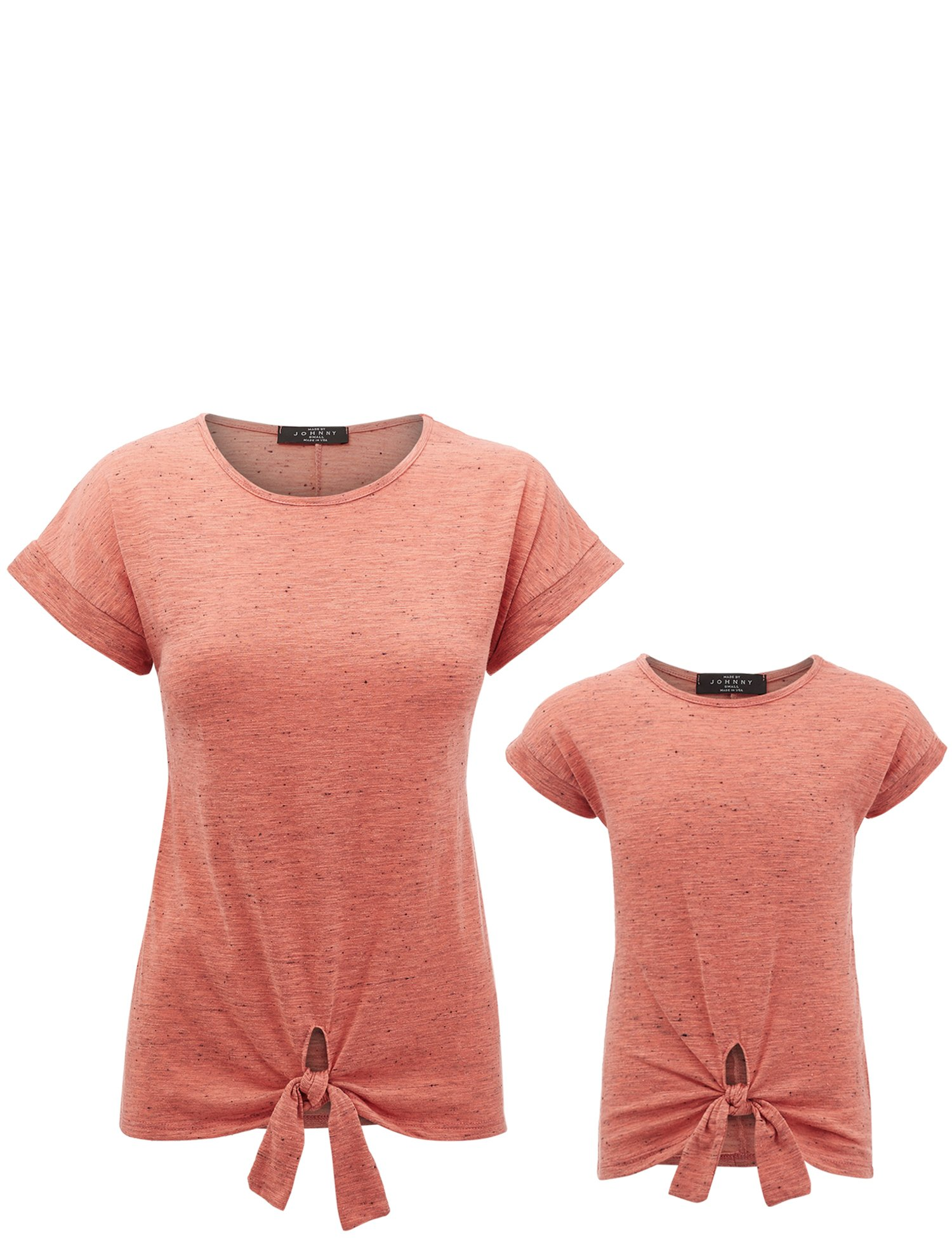 MBJ Kids PT1512 Mommy and Me Round Neck Short Sleeve Dolman Top With Bow M Orange