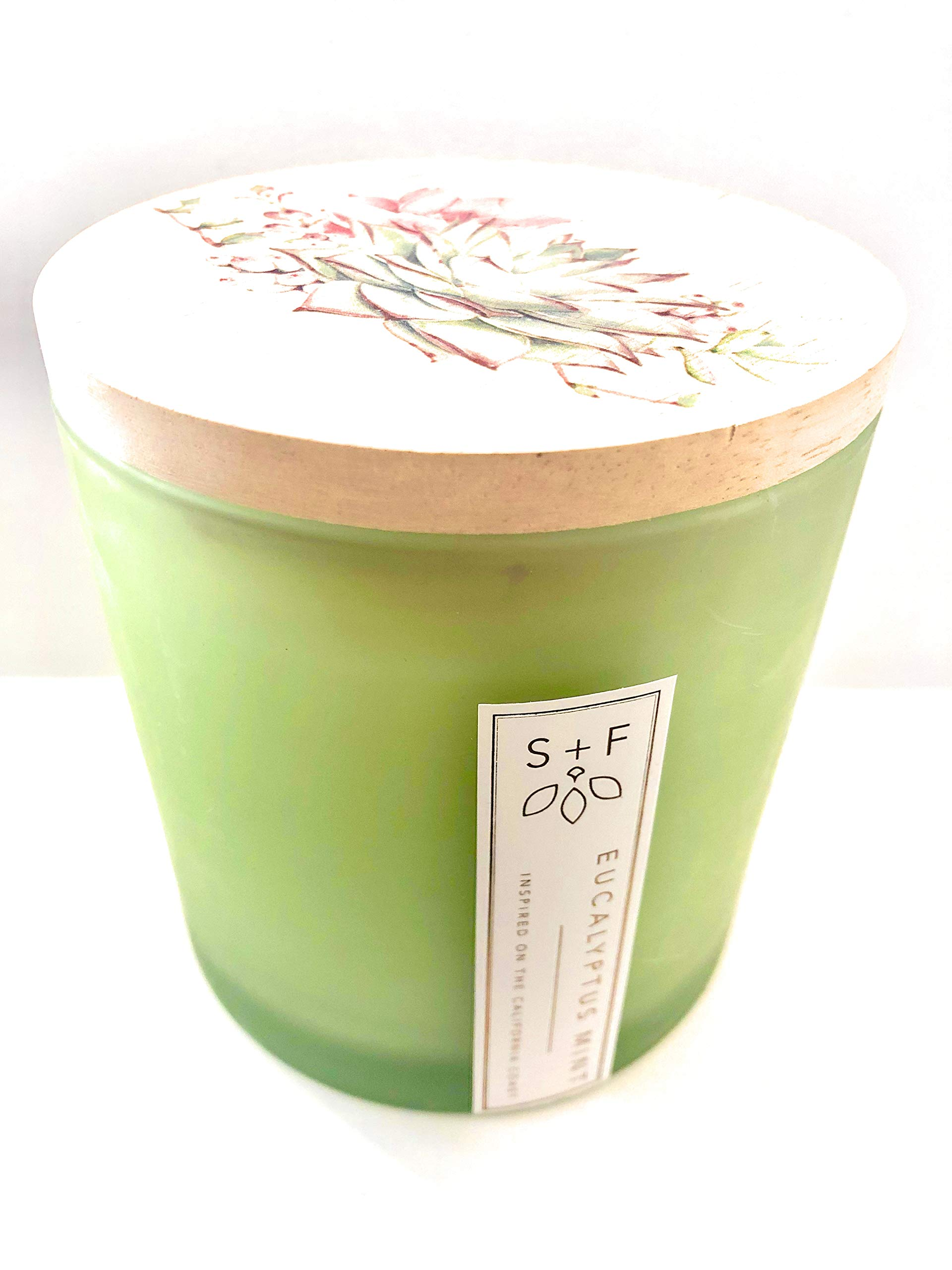 Sand + Fog Large Triple Wick Eucalyptus Mint Candle with Lid 25 Oz