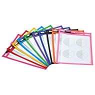 TYH Supplies 10-Pack Reusable Dry Erase Pockets 9 x 12 Inches Assorted Neon Colors