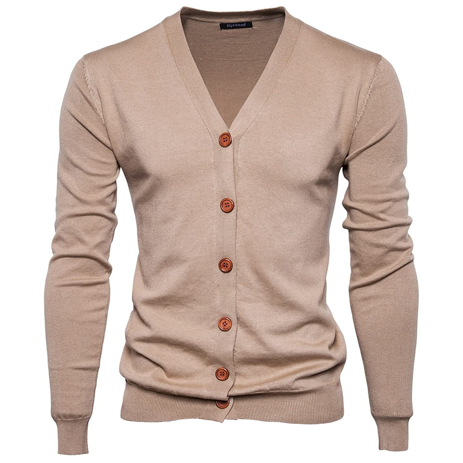 WSLCN Men's Cardigan Basic Sweater Knitted Jumper V-neck Jacket AW-F117