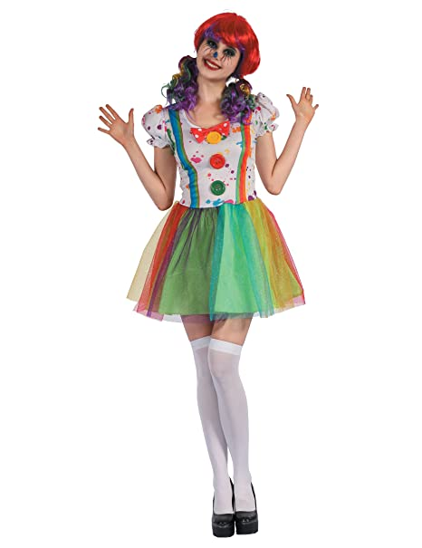 3c1d0c2de403 generique Costume da clown multicolore per donna S  Amazon.it ...