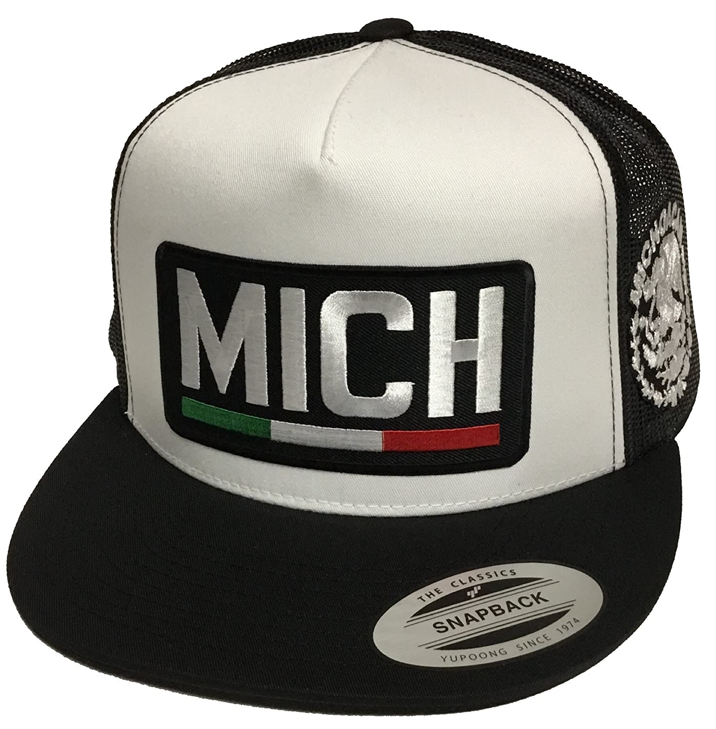 66e7e293605 Michoacan 2 Logos Mexico Logo Federal Hat White Black Mesh Snapback at  Amazon Men s Clothing store