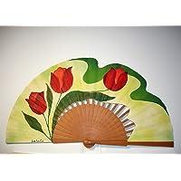"""Abanico español/Abanico pintado a mano/Abanico flamenco/Abanico de madera/Abanicos Sevilla""""Tulipanes Rojos"""""""