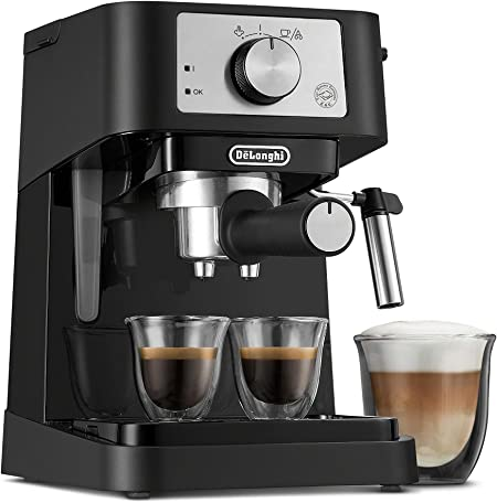 De'Longhi EC260BK Stilosa - Máquina de café expreso, color negro y acero inoxidable