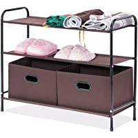 MaidMAX Closet Storage Organizer, 2nd Generation Clothes Organizer Collection with 3 Tier Shelves and 2 Collapsible Drawers