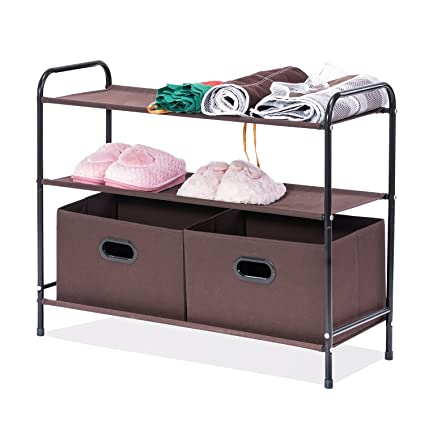 MaidMAX 3 Tiers Closet Shelf Organizer With 2 Drawers For Home Storage And  Organization, Brown