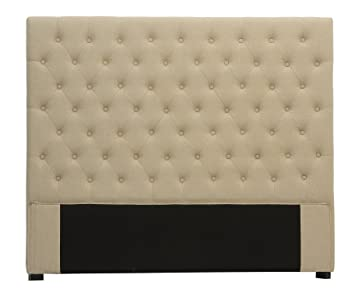 intrieur discount padded headboard 160 cm linen beige chesterfield