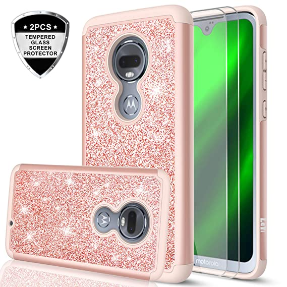 big sale e8a14 a7108 Moto G7 Case, Motorola G7 Case with Tempered Glass Screen Protector [2  Pack] for Girls Women, LeYi Glitter Bling Dual Layer Hybrid Shockproof ...