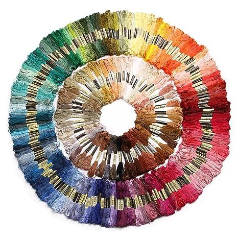 8m 6-fädig Multicolor 50 Döckchen Stickgarn Sticktwist farblich sortiert