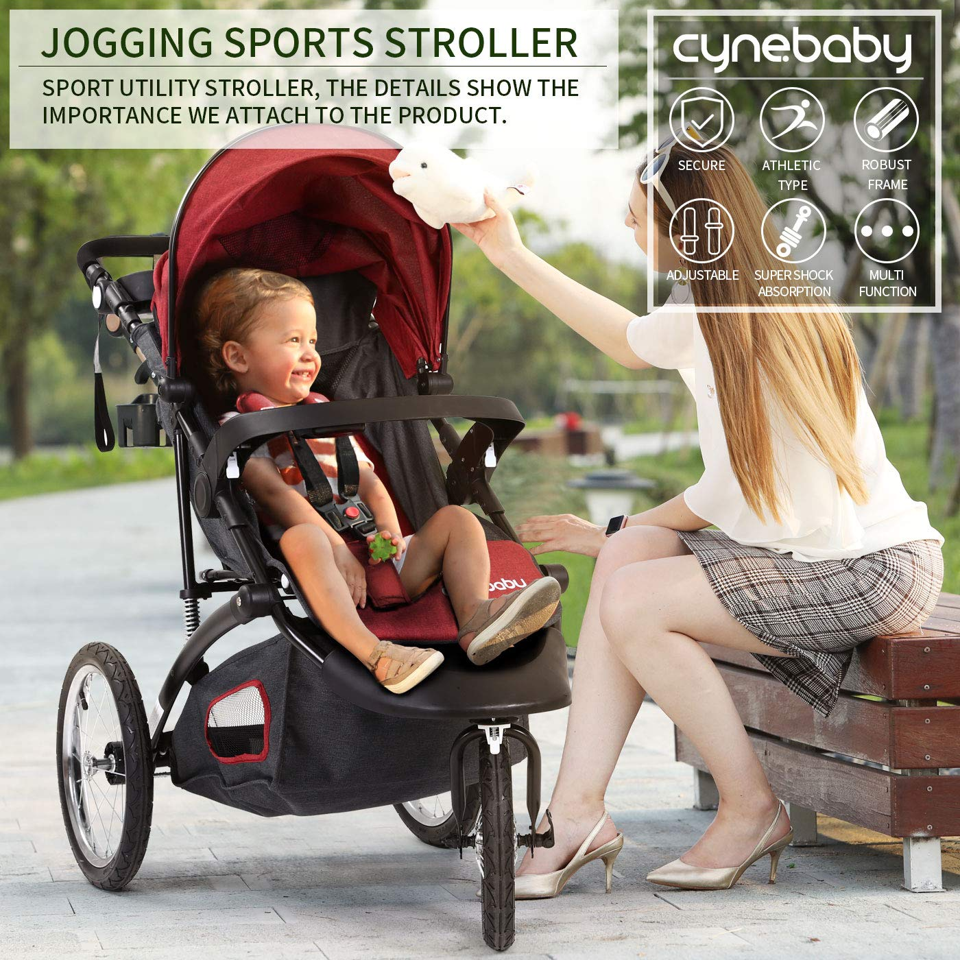 Jogging Stroller Fold City Baby Jogger Travel Citi Jog Strollers Single Toddler Baby Pram Jogging Compact Urban Ultralight Joggers Beby Carriage Pushchair Stroller Travel System by Cynebaby / HAIXIAO (Image #9)