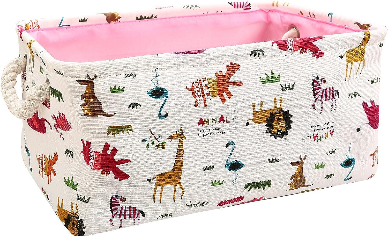 Zonyon 14'' Rectangular Collapsible Storage Bin Cartoon Fabric Nursery Basket,Cute Décor Organizer Cube for Baby,Kids,Home,Toys,Entryway,Closet,Toddler,Zoo Animal
