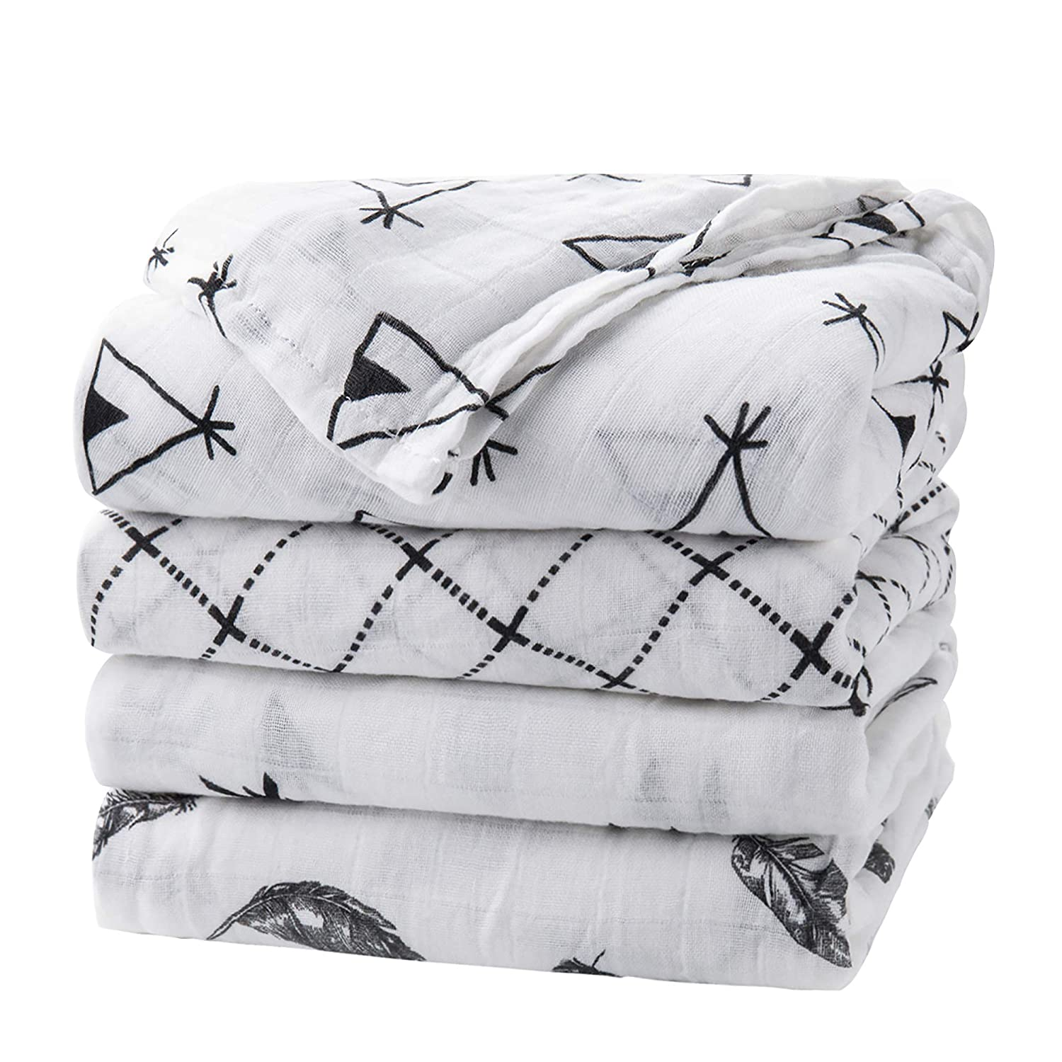 upsimples Baby Swaddle Blanket Unisex Swaddle Wrap Soft Silky Bamboo Muslin Swaddle Blankets Neutral Receiving Blanket for Boys and Girls, Large 46 x 45 inches, Set of 4-Arrow/Feather/Tent/Crisscross: Baby