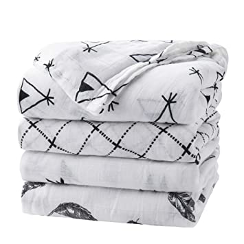 29x29 4-Pack Lammcou Baby Swaddle Blanket Bamboo Muslin Unisex Swaddle Wrap Soft Silky Large Stroller Cover Sleep Receiving Blankets for Boys and Girls Baby Nursery Shower Gift Set 47x47