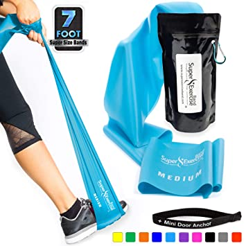 Super Exercise Band USA 7 ft  Long Latex Free Resistance Bands Plus Mini  Door Anchor  Choose Light, Medium or Heavy Strength For Gym, Physical