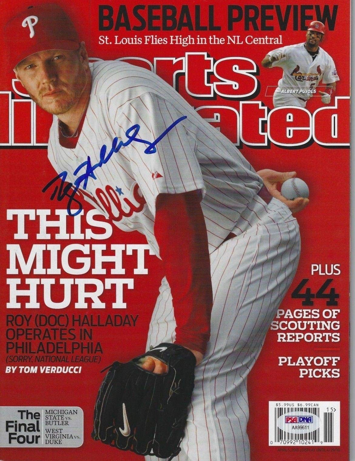 ROY HALLADAY (Phillies) Signed SPORTS ILLUSTRATED with COA (NO Label) PSA/DNA Certified Autographed MLB Magazines