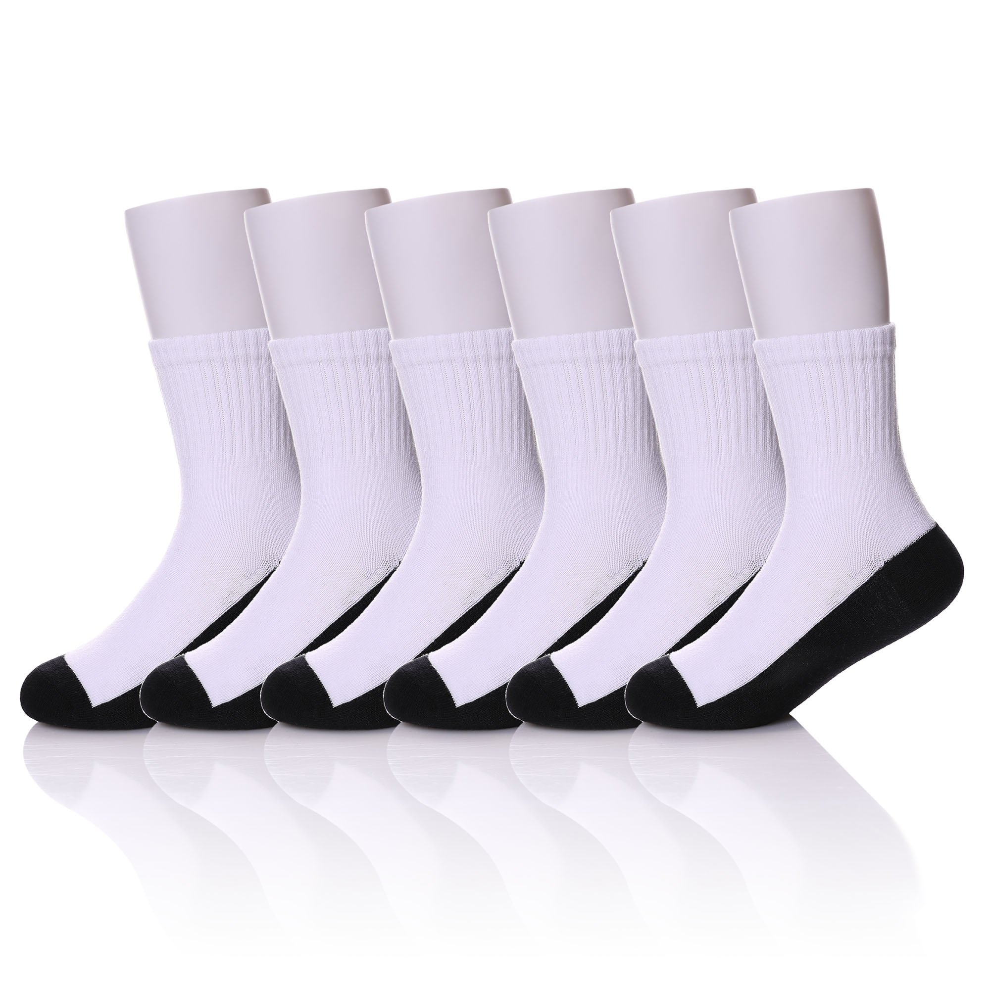 MIUBEAR 6 Pack Unisex Toddler Big Boys Girls Athletic Ribbed Cotton Classic Crew School Socks 3-16 Years Old (9-13 Year Old, White & Black) by MIUBEAR