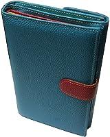VANITY - Compagnon, porte chequier, porte monnaie, portefeuille,femme, cuir vachette grainé pleine fleur, bleu turquoise