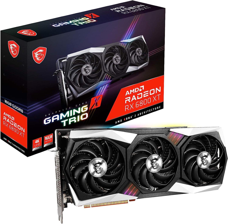 MSI Gaming Radeon RX 6800 XT 16GB GDRR6 256-Bit HDMI/DP 2285 MHz RDNA 2 Architecture OC Graphics Card (RX 6800 XT Gaming X Trio 16G)
