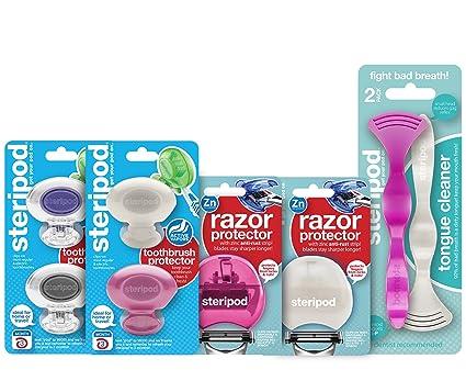 Steripod Kit para mujer: 4 protectores de cepillos de dientes (oro rosa, perla, plata clara, ...