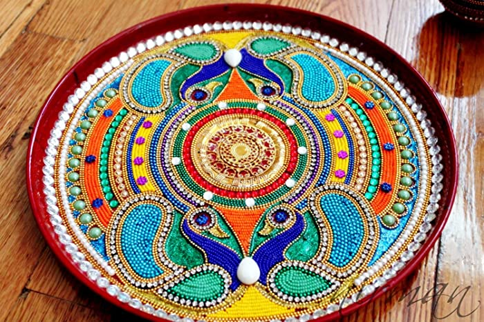 Amazon pooja thali decorative henna mehndi peacock design thali pooja thali decorative henna mehndi peacock design thali festive homedecor nikah shadi junglespirit Choice Image