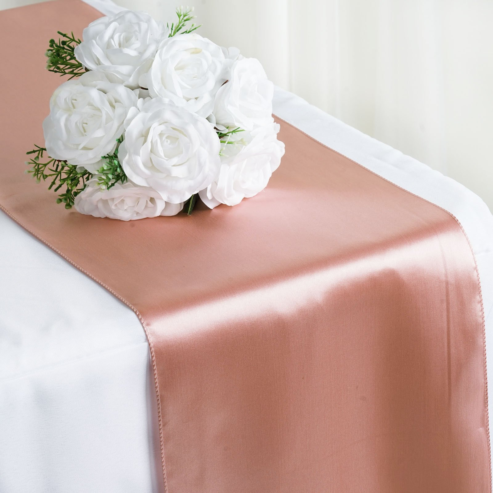 New 12 x 108 inch Satin Table Runner for Wedding Party Function Banquet Event Birthday Home Kitchen Decoration - (10, Mauve)