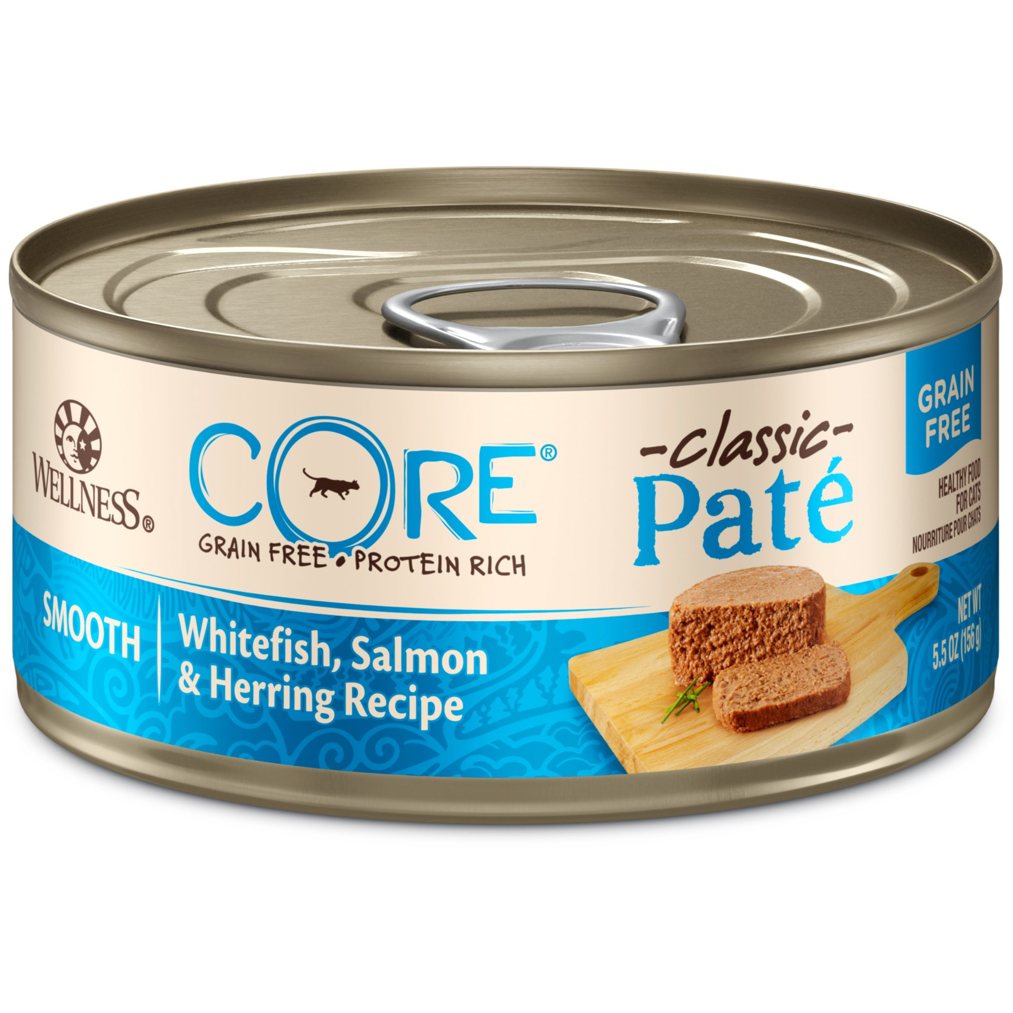 Wellness Core Natural Grain Free Wet Canned Cat Food, Whitefish, Salmon & Herring, 5.5-Ounce Can , Pack Of 24 by WELLNESS CORE