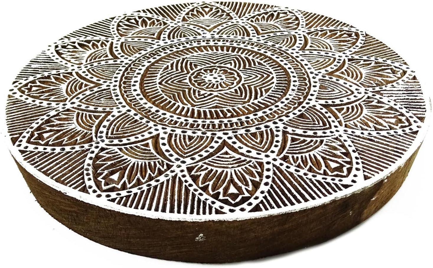 Holzdrucktype Floral Round Hand geschnitzte Textile Kunst-Drucker-Stempel Pb