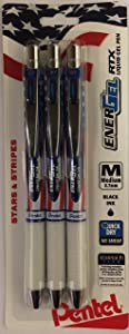 Pack of 3 Pentel Energel RTX with Stars & Stripes Style 0.7mm Medium Point Liquid Gel Pens (Black)