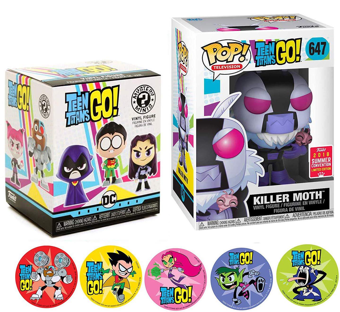 Beast Boy /& Cyborg 3 Items AYB Products Raven Starfire Robin Funko Vinyl Mini Titans Go Character Teen Titans Killer Moth Figure /& Blind Box Series Adventure Cartoon Toy Super Pop Exclusive Action Stickers