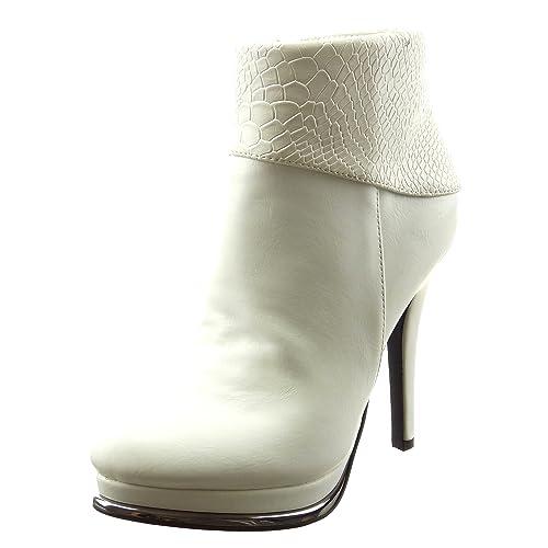 Sopily - Zapatillas de Moda Botines zapatillas de plataforma Tobillo mujer piel de serpiente metálico Talón