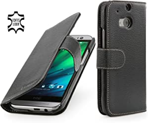 StilGut Housse en cuir Talis pour HTC One M8 & HTC One M8s avec compartiments pour cartes, en noir
