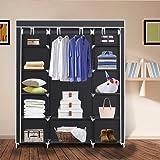 Herron Portable Clothes Closet, Non-Woven Fabric Wardrobe Clothes Storage Organizer, Black 59-Inch