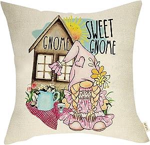 Fjfz Spring Summer Farmhouse Decorative Throw Pillow Cover Pink Gnome Sweet Gnome Sign Rustic Tulip Daisy Sunshine Farm Decoration Home Décor Cotton Linen Cushion Case Sofa Couch 18