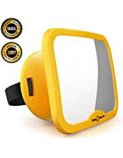 ROYAL RASCALS Baby Car Mirror for Backseat - Updated Premium Model - Safest Yellow Frame - Shatterproof - Rear View Baby Car Seat Mirror to See Rear Facing Infants and Babies