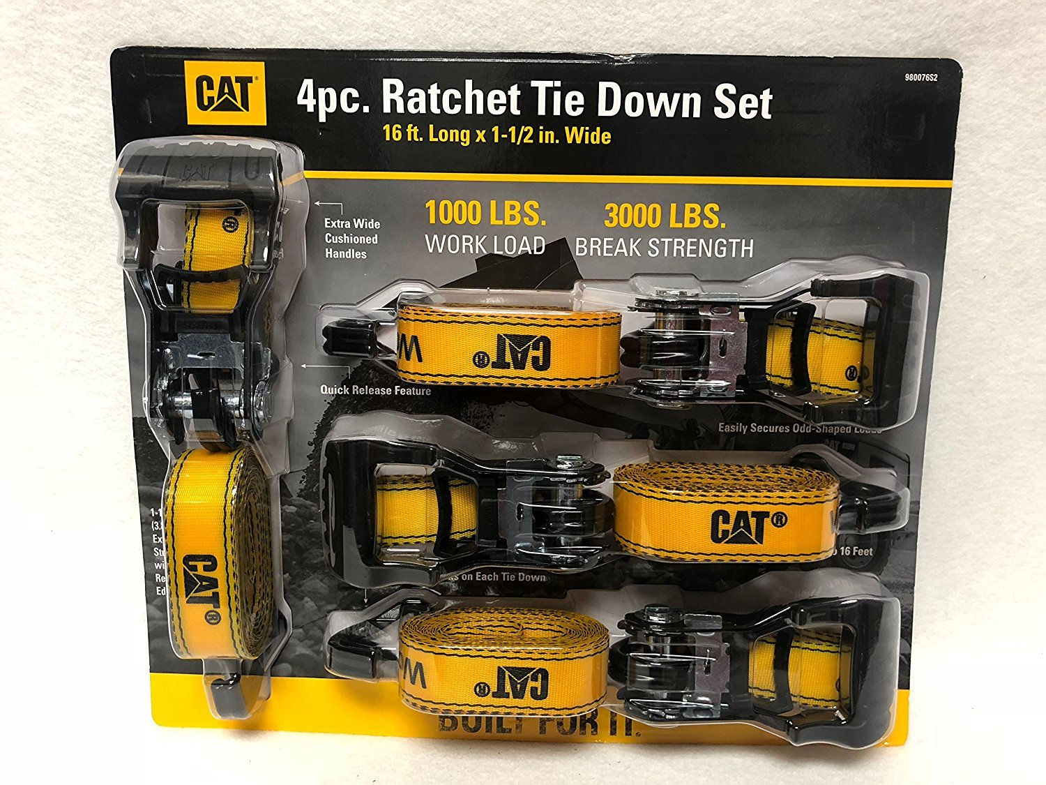 NEW 4 CAT RATCHET TIE DOWN STRAPS 1 1/2'' X 16' 1000 LB WORK-LOAD