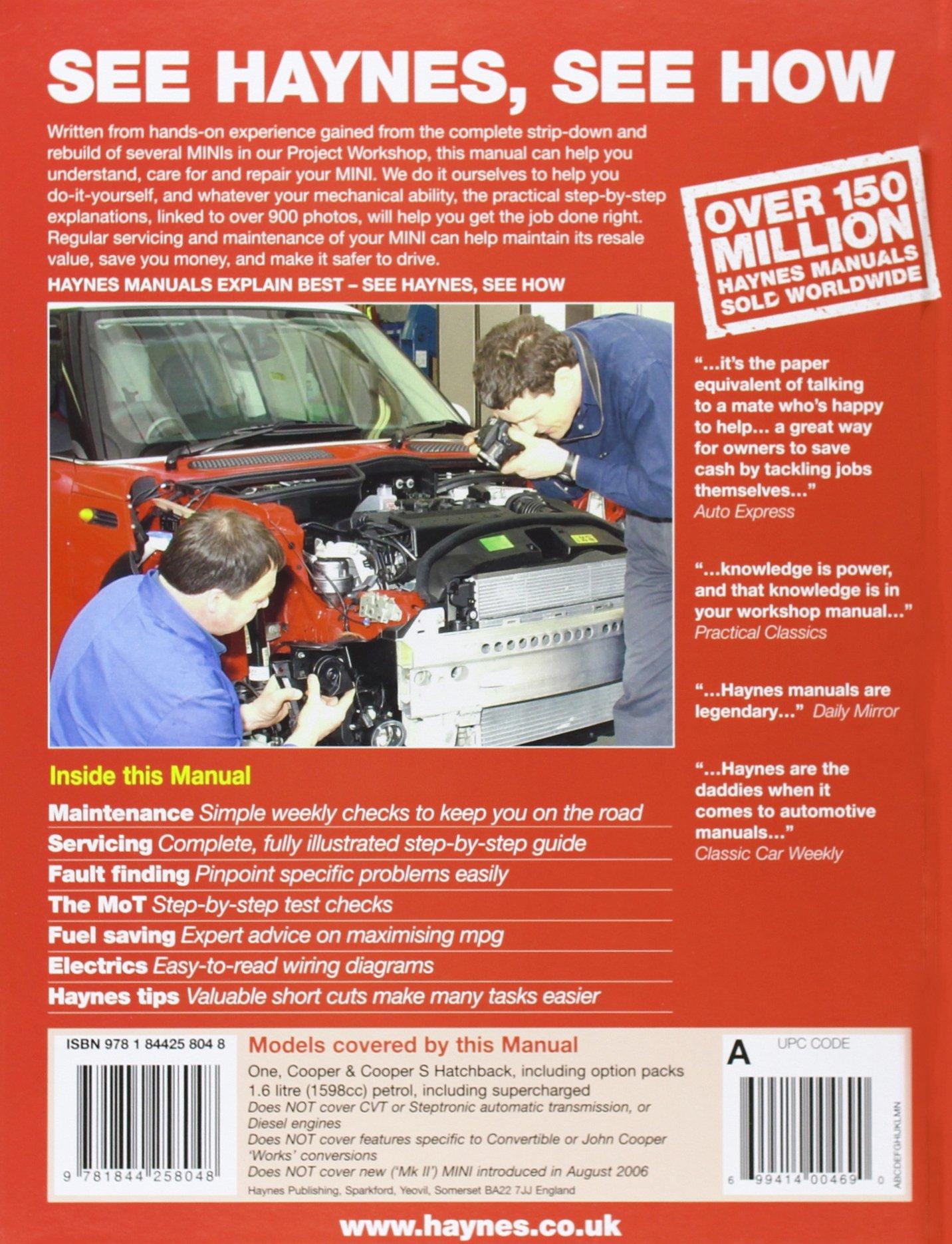Mini (Petrol) Service and Repair Manual: 2001 to 2006 (Haynes Service and Repair  Manuals): Martynn Randall: 9781844258048: Amazon.com: Books